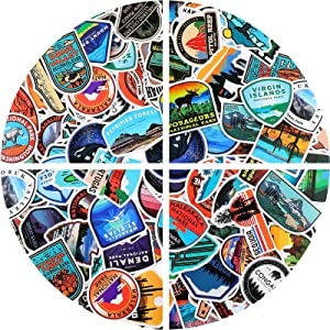 200 Pieces National Park Sticker Adventure Waterproof Nature Stickers Outdoors Camping Hiking Wilderness Stickers for Water Bottles Laptop Notebook Phone Suitcase Skateboard Teens Kids Adult
