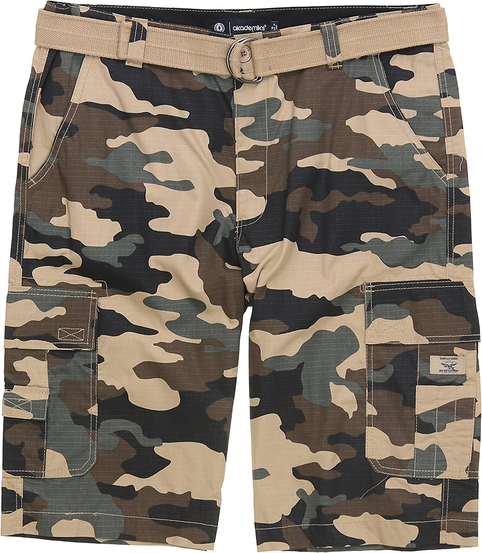 Akademiks Mens Ripstop Beekman Belted Cargo Shorts