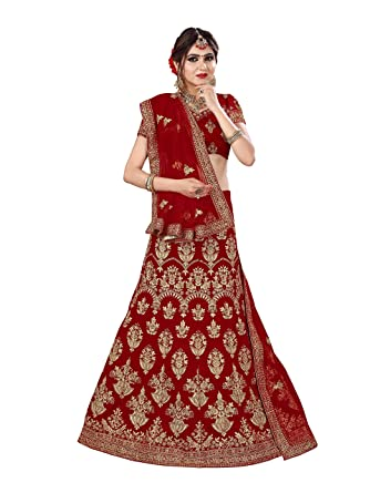 d83e0d5fe Fashion Ka Fatka Fancy Indian Designer Velvet Red heavy bridal unsitched  Lehenga Choli: Amazon.in: Clothing & Accessories