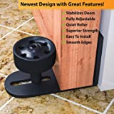 Barn Door Floor Guide | Hardware For Interior Barn Doors | Stay Roller Adjustable Wall Mount Guide Stabilizes Bypass Doors | Durable Steel | Easy To Install | Black | Newest Design by fiXCit