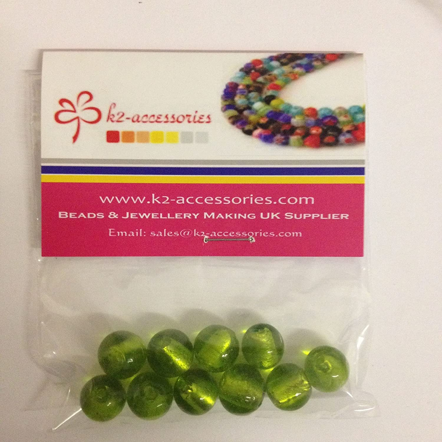 Lime Green 10 pieces 12mm Silver Foil Lampwork Round Glass Beads A4224