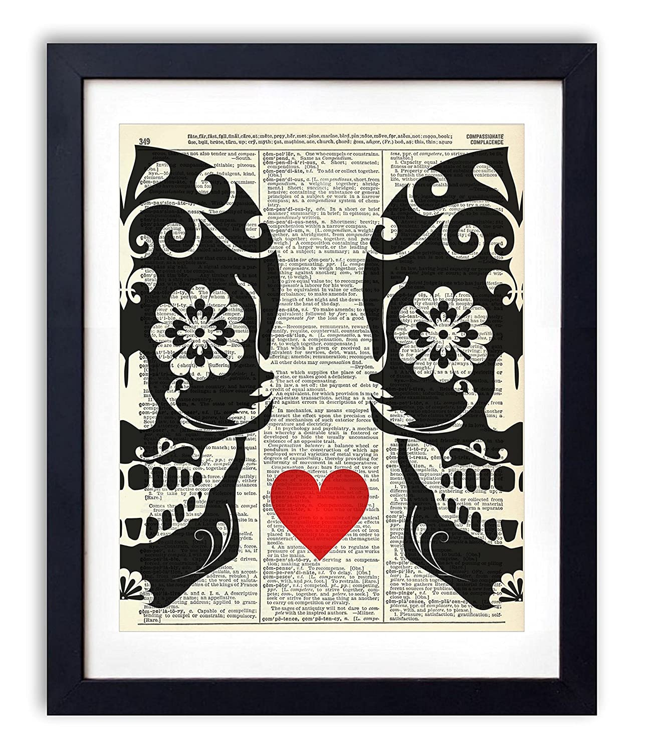 Sugar Skull Love Upcycled Wall Art Vintage Dictionary Art Print 8x10 inches / 20.32 x 25.4 cm Unframed