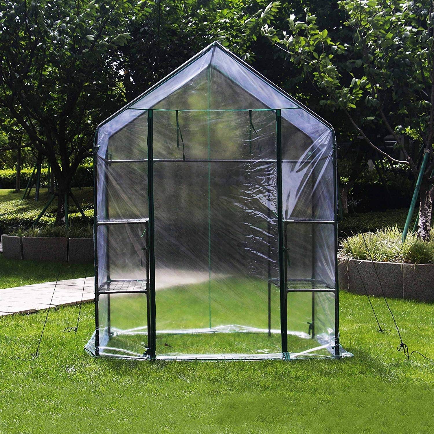 Redd Royal Green House 56  W x 56  D x 77  H,4HOMART Walk-in Greenhouse With PE Cover,Strong Metal Frame,3 Tiers 6 Shelves with Roll-Up Zipper Door Plant Garden Outdoor Green House