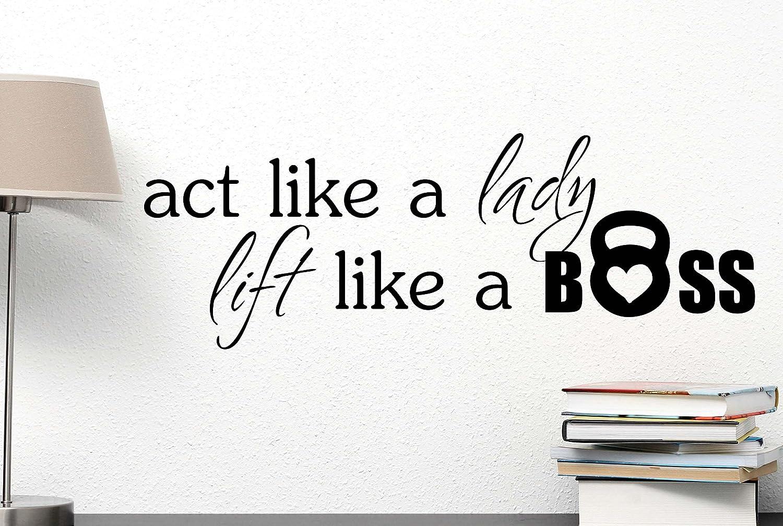 amazon com act like a lady lift like a boss cute wall vinyl decal amazon com act like a lady lift like a boss cute wall vinyl decal inspirational quote art saying lettering motivational gym sticker stencil wall decor art