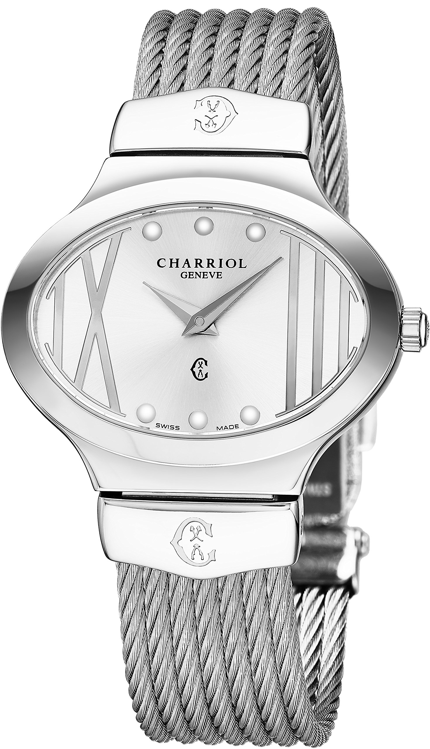Charriol Darling Oval Womens Stainless Steel Silver Watch - Quartz Analog Silver Face with Sapphire Crystal Metal Band Dress Watch - Luxury Swiss Made Watches for Women OVAL.541.OV004