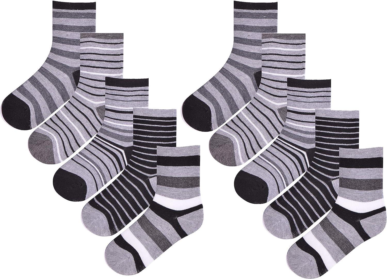Boys 10 Pairs Ankle Socks Childrens Stripes Coloured Bright Design Socks