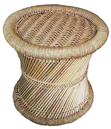Pushkar Handicraft Natural Cane Bar Stool Mudda for Indoor/Outdoor Furnishings