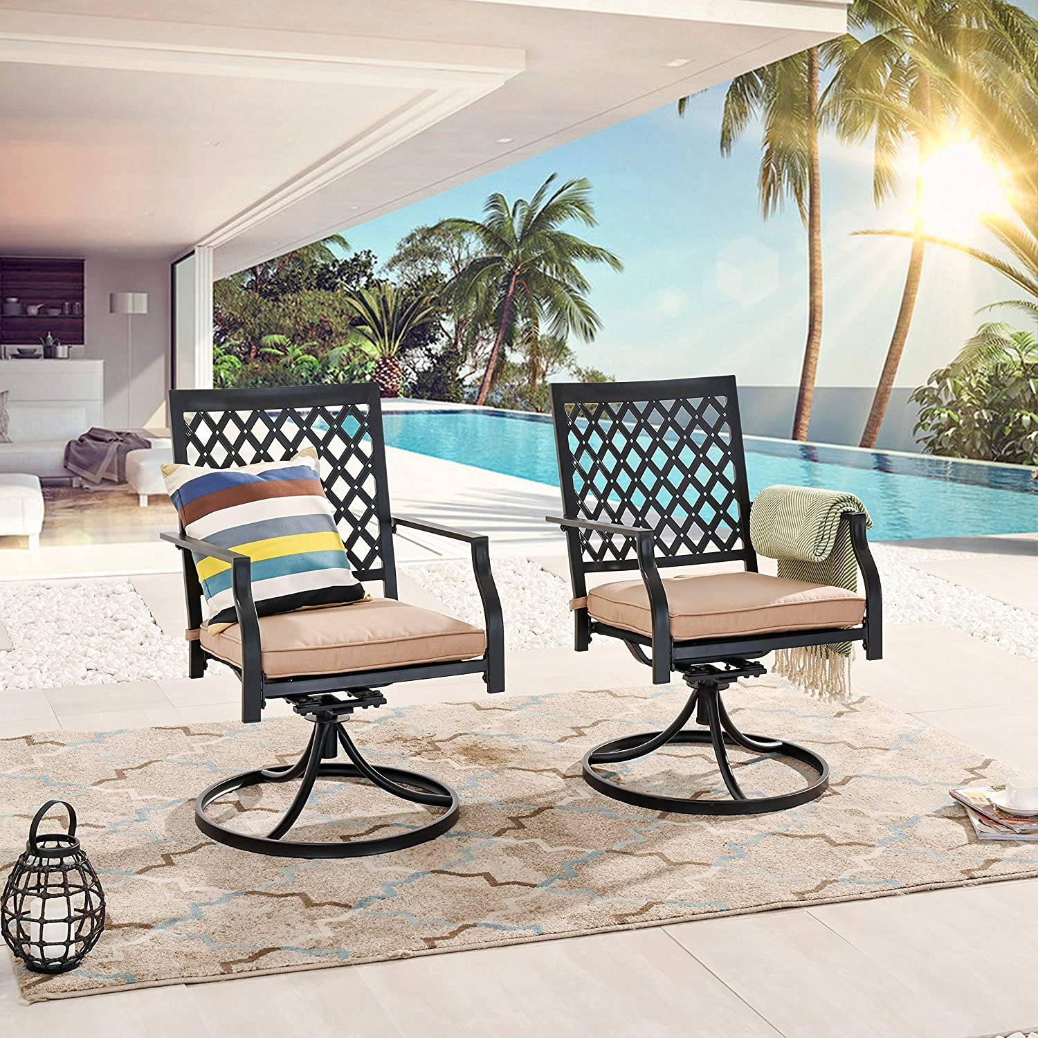 LOKATSE HOME Patio Swivel Dining Chairs Set of 2 with Cushion Bistro Outdoor Furniture for Garden Backyard Poolside, Beige