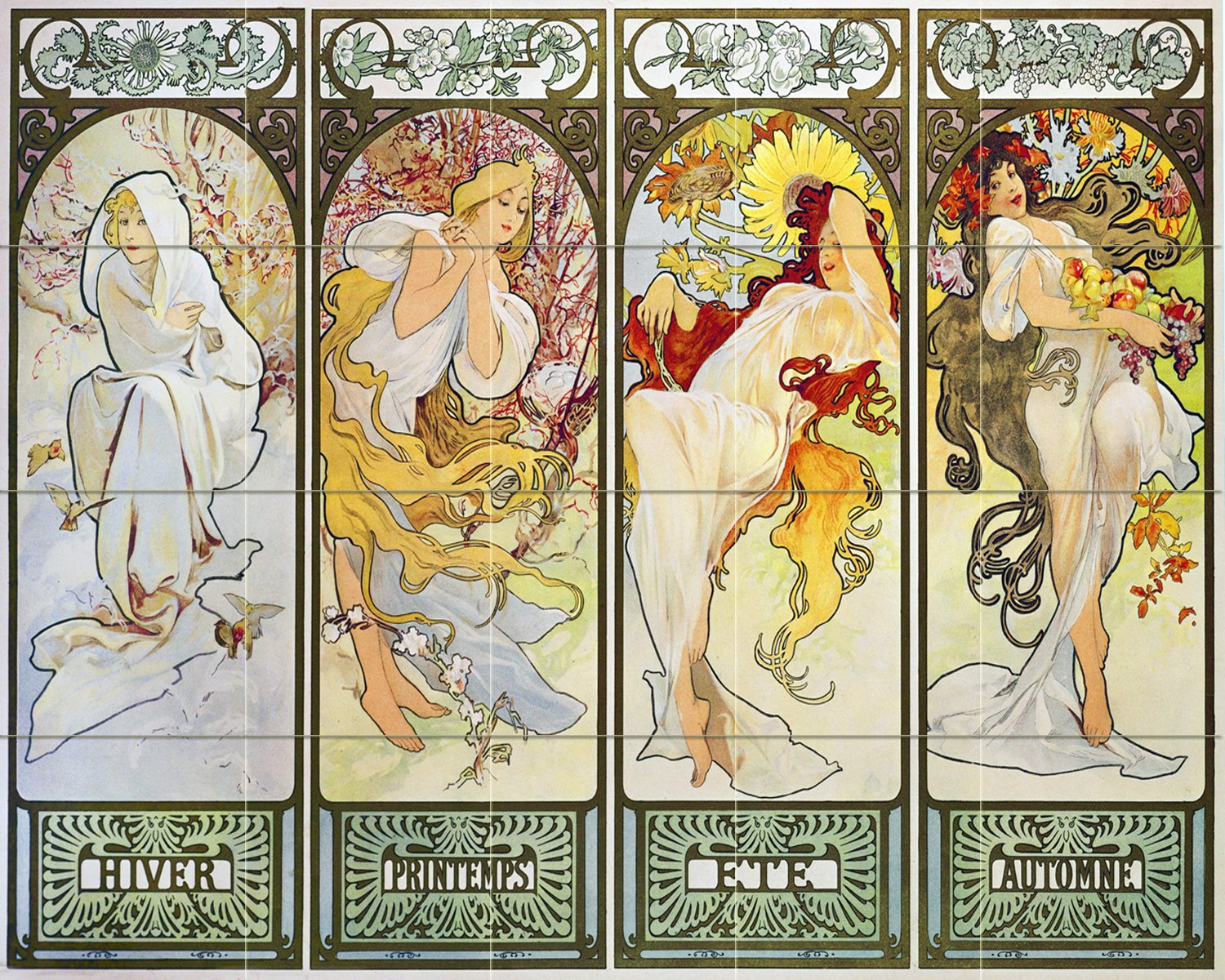 Poster girl four-season frame by Alphonse Mucha Tile Mural Kitchen Bathroom Wall Backsplash Behind Stove Range Sink Splashback 5x4 4'' Marble, Matte