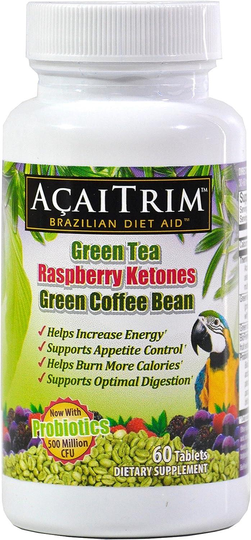 Amazon Com Acaitrim Weight Loss Supplement Green Tea Extract Green Coffee Bean Extract Raspberry Ketones Acai Probiotics Supports Metabolism Energy For Men Women 60 Acai Berry Capsules Health