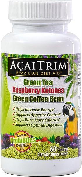 AcaiTrim- Weight Loss Supplement- Green Tea Extract, Green Coffee Bean Extract, Raspberry Ketones, Acai, & Probiotics – Supports Metabolism & Energy For Men & Women- 60 Acai Berry Capsules