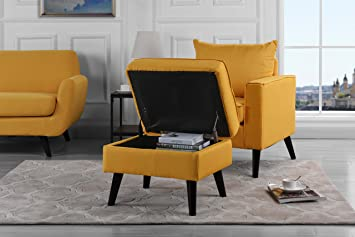 Captivating Mid Century Modern Living Room Large Accent Chair With Footrest / Storage  Ottoman (Yellow