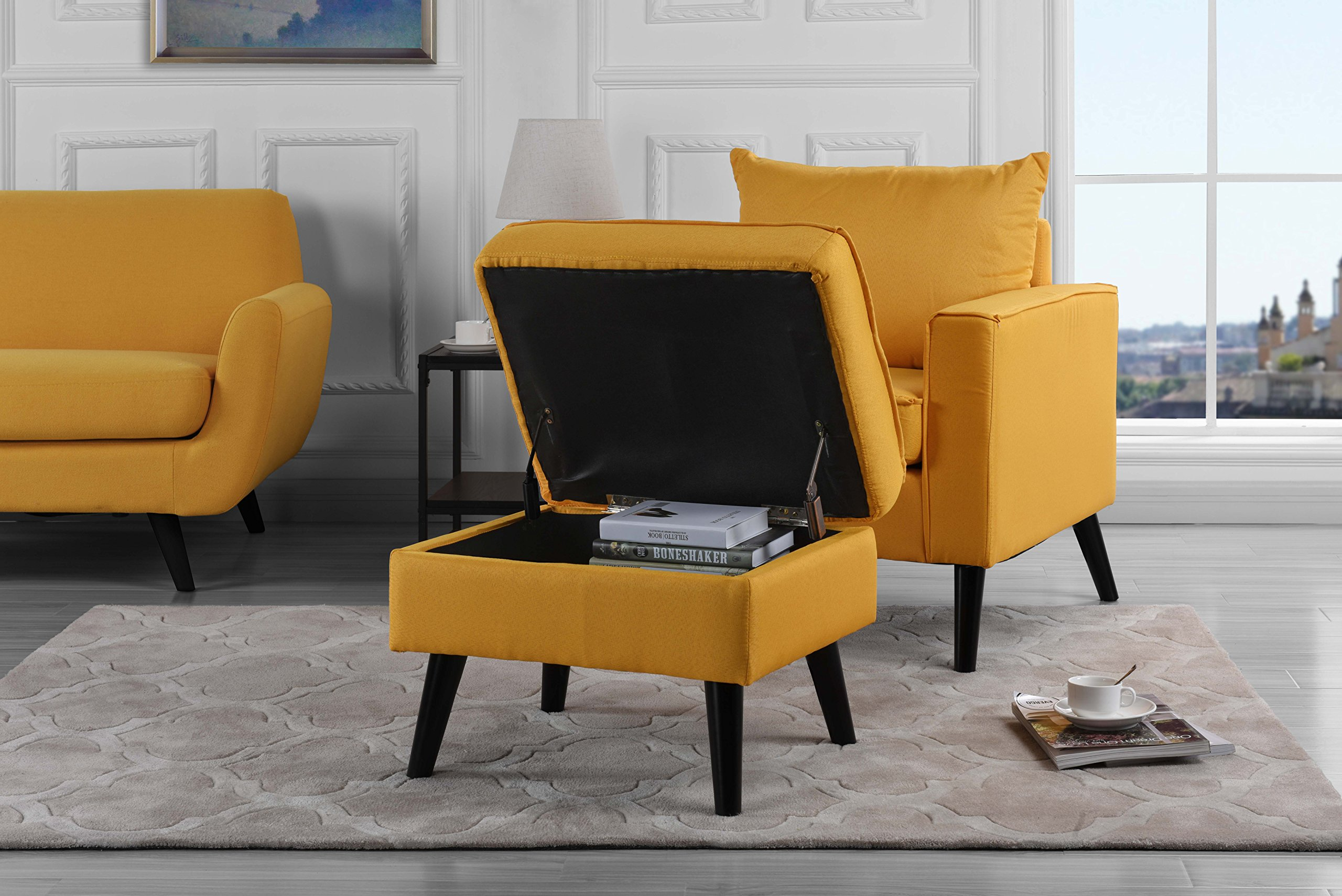 Mid-Century Modern Living Room Large Accent Chair with Footrest/Storage Ottoman (Yellow)