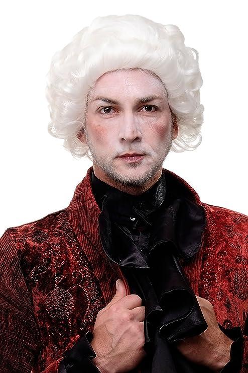 WIG ME UP ® - H9033-1001 Peluca calidad mujer hombre Barroco Renacimiento Mozart noble