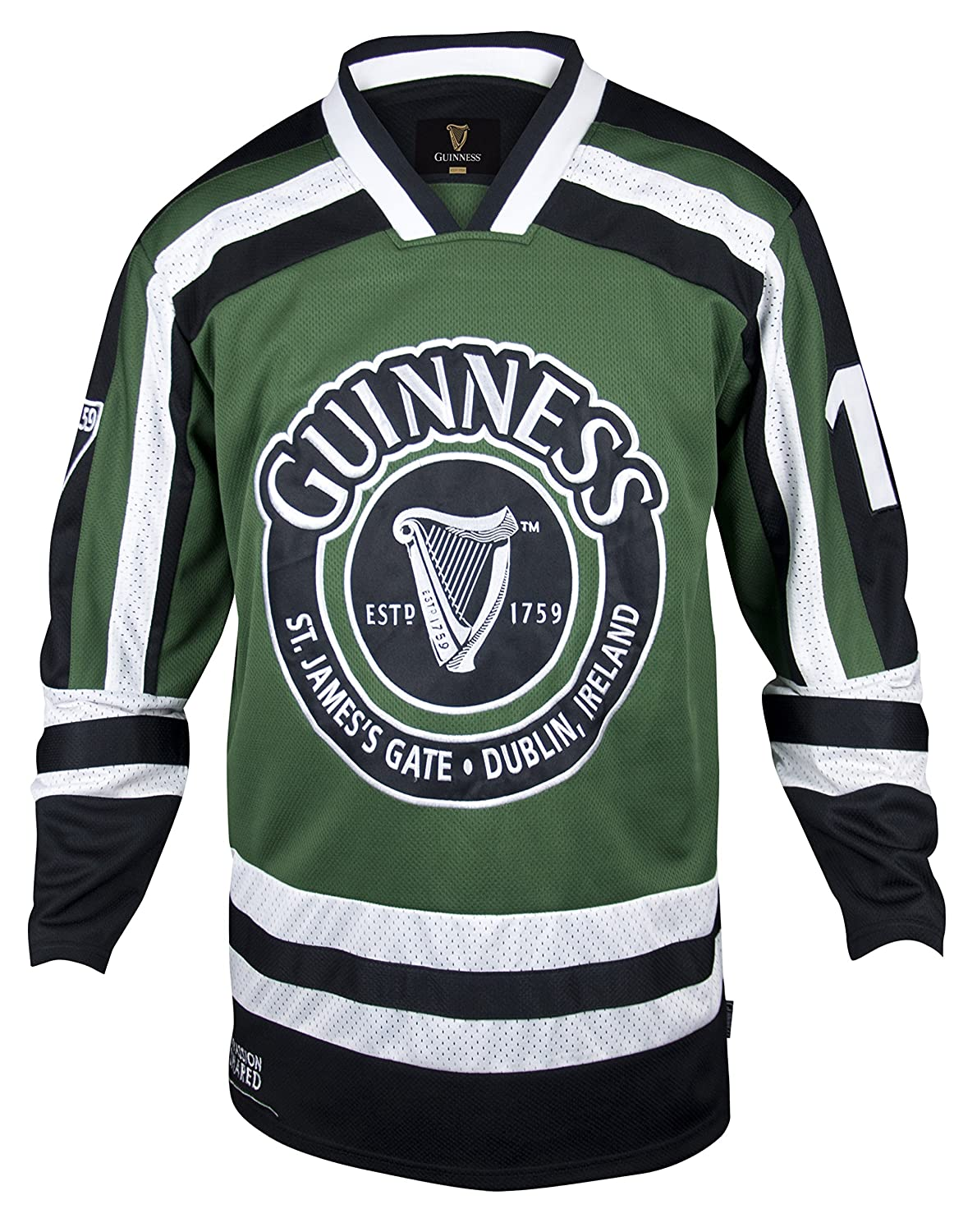 Guinness Green & White Harp Hockey Jersey - Embroidered Polyester...