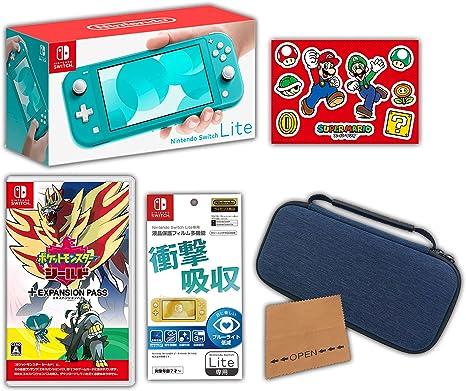【Amazon.co.jp限定】<ニンテンドースイッチ ホリデーセット>ポケットモンスター シールド + エキスパンションパス+Nintendo Switch Lite ターコイズ+アクセサリーセット+おまけ付き