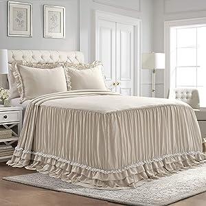 Lush Decor Ella Shabby Chic Ruffle Lace Bedspread Neutral Farmhouse Style Lightweight 3 Piece Set King