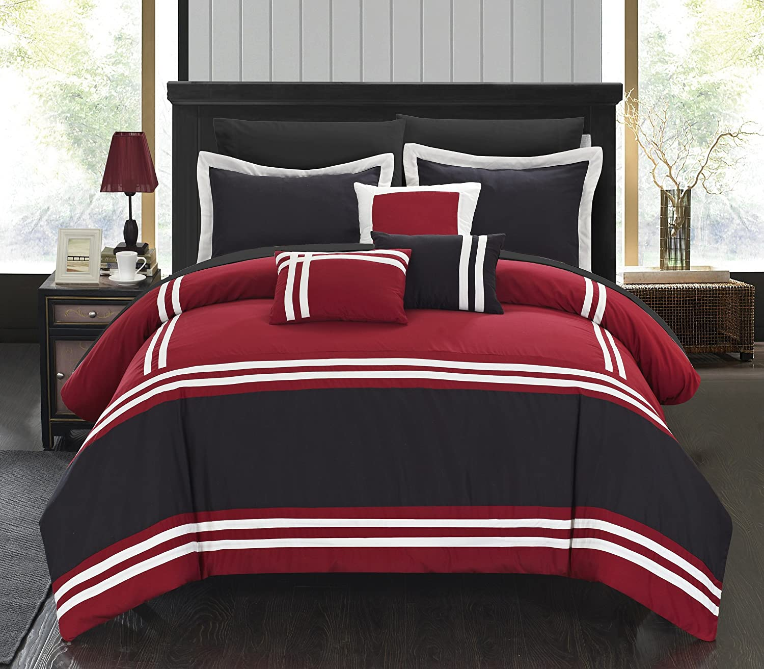 Bedding with Sheet Set and Decorative Pillows Shams Included, Queen Red