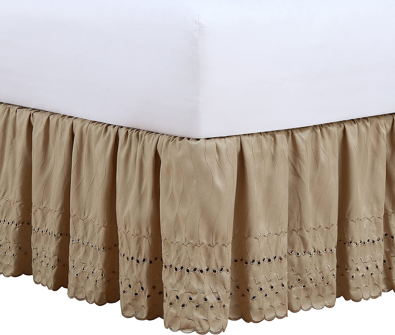 White Fresh Ideas Bedding Eyelet Ruffled Bedskirt Extra Long 18 Drop Length Gathered Styling Queen