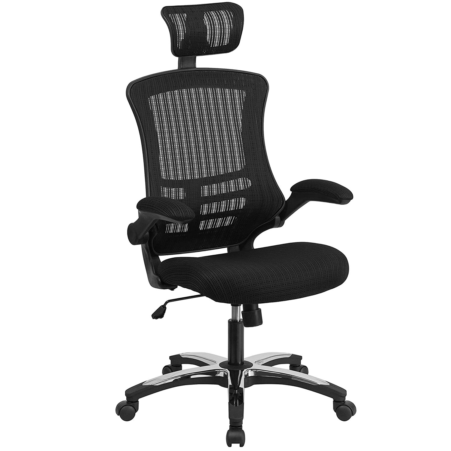 Amazon.com: High Back Black Mesh Executive Swivel Office Chair with Flip-Up  Arms and Chrome-Nylon Designer Base: Kitchen & Dining - Amazon.com: High Back Black Mesh Executive Swivel Office Chair