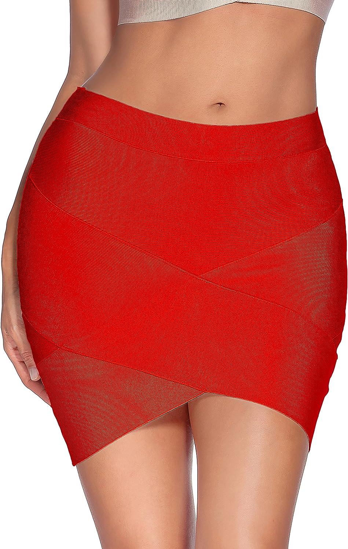 meilun Women's Rayon Bandage Bodycon Mini Skirt at  Women's Clothing store