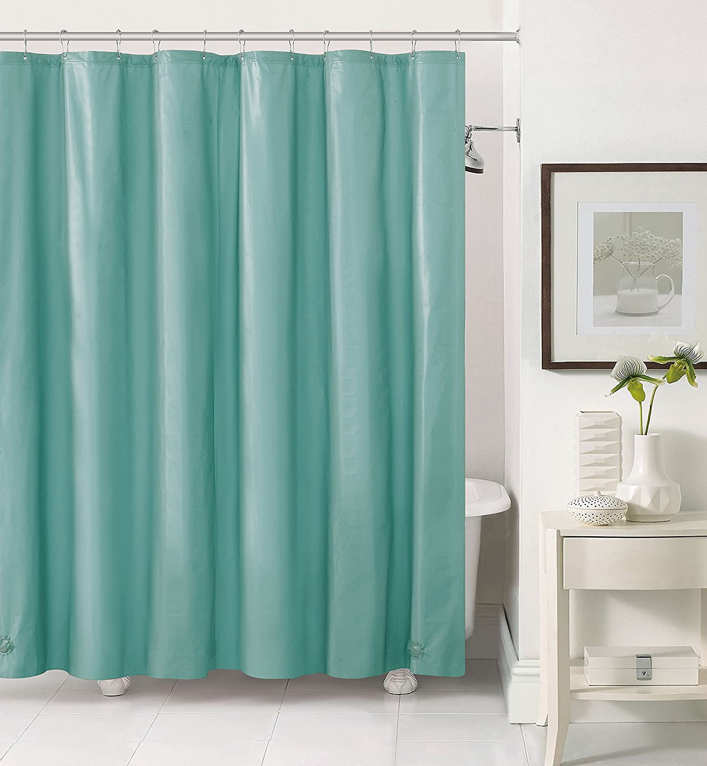 Victoria Classics PV3-LIN-7272-EL-SG Peva Shower Liner 72, 3 Gauge with Magnets And Grommets Elias-Sage Luxury Home