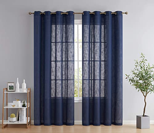 HLC.ME Abbey Faux Linen Textured Semi Sheer Privacy Light Filtering Transparent Window Grommet Floor Length Thick Curtains Drapery Panels