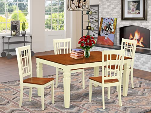 WENI5-BMK-W 5 Pc Dinette set with a Dining Table and 4 Wood Dining Chairs in Buttermilk and Cherry