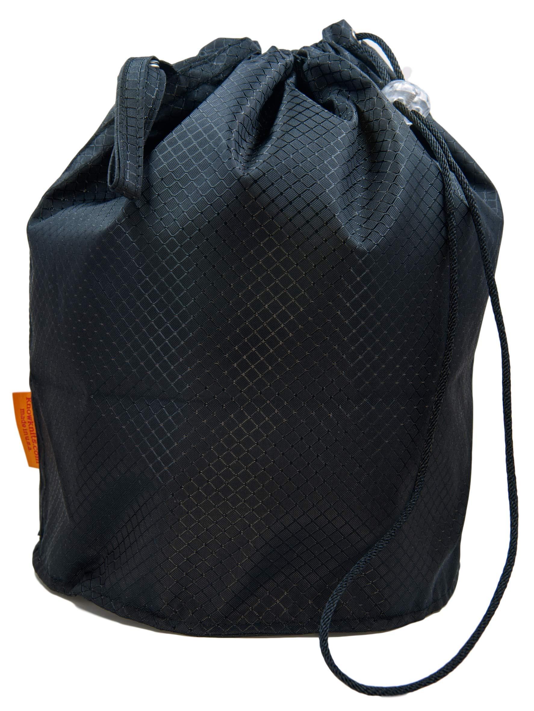 GoKnit Onyx Jewel Pouch Knitting Project Bag with Loop & Drawstring (Medium)