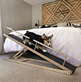 "DoggoRamps - Bed Ramp for Small Dogs, Adjustable for All Beds up to 37"" - Solid Hardwood, Made in North America"