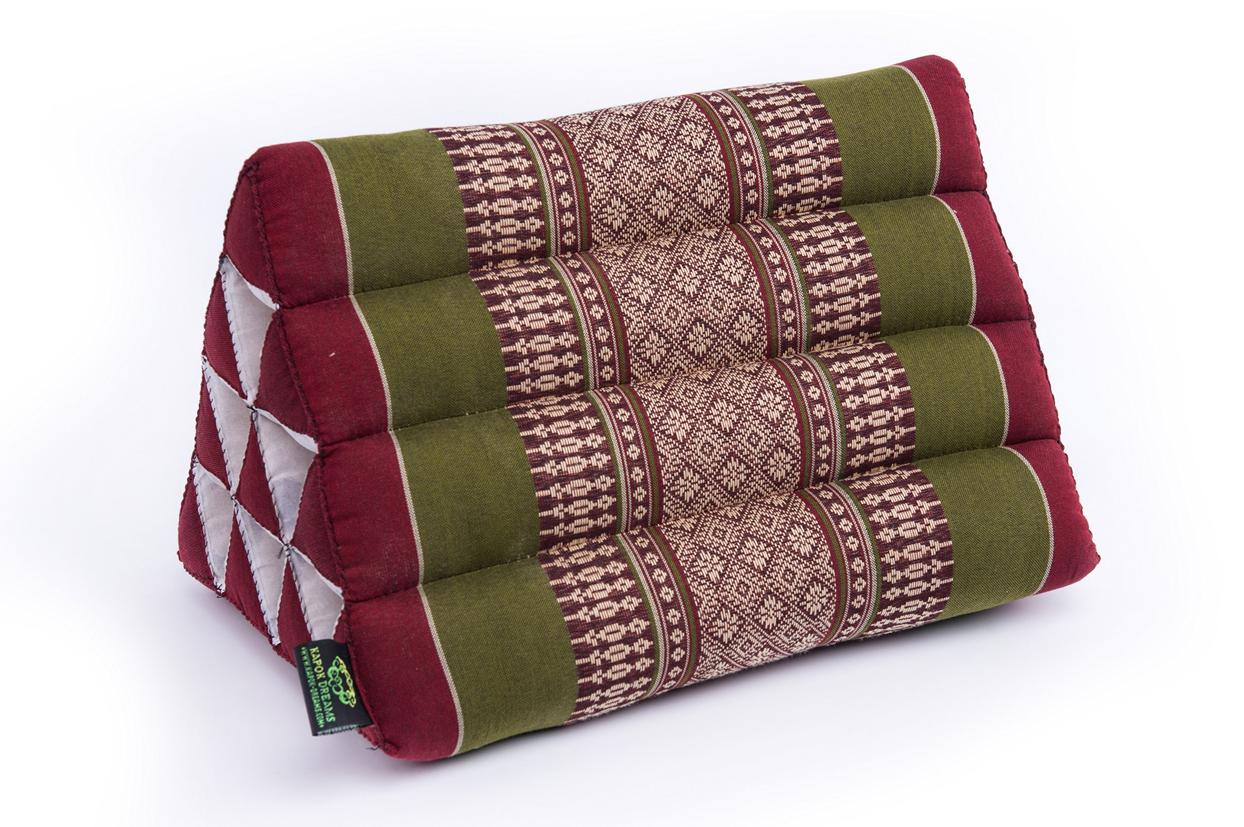 Kapok Dreams Triangle Pillow 13''x8'' (medium size), 100% Kapok-Stuffing, Thai Design Plum & Olive.