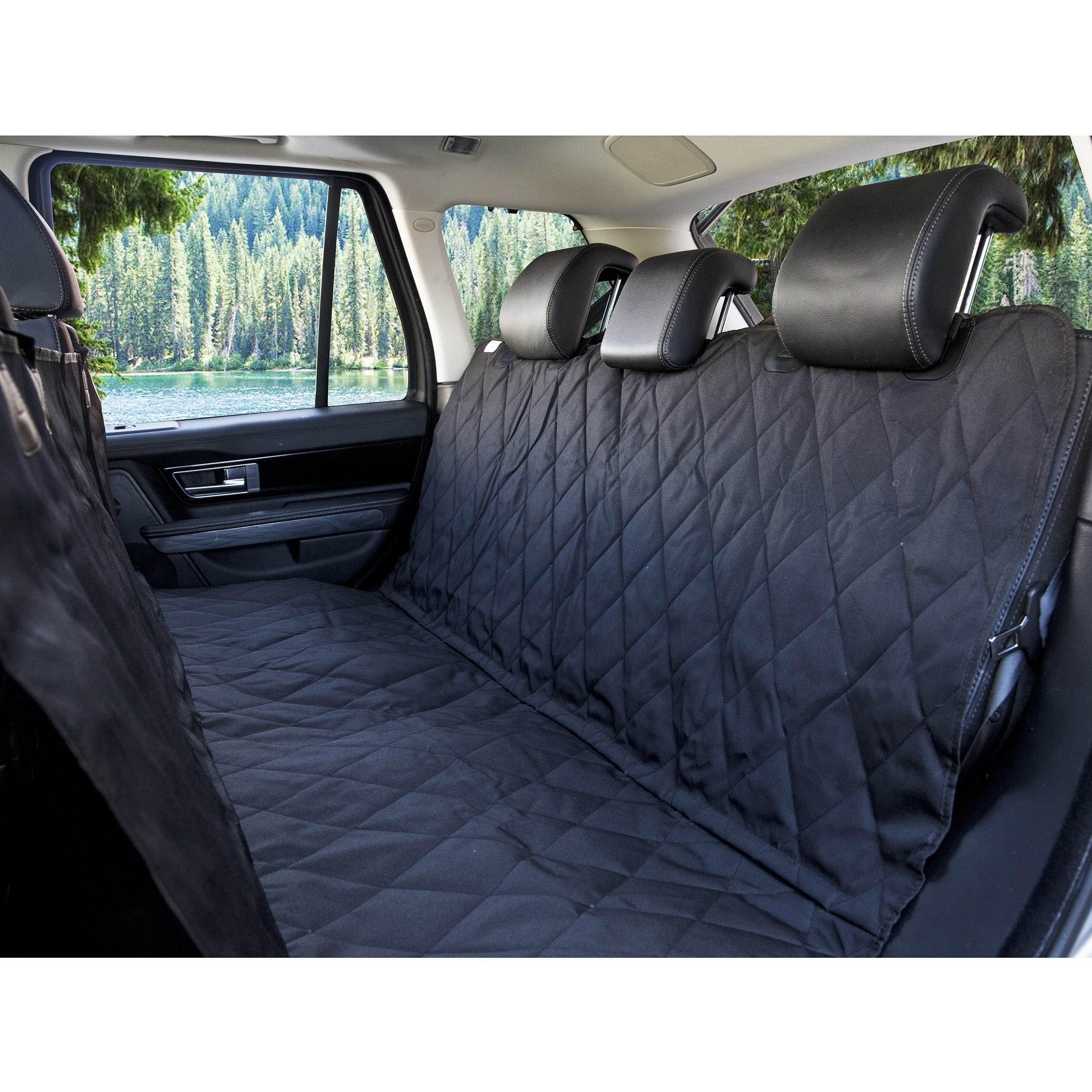 BarksBar Luxury Pet Car Seat Cover with Seat Anchors for Larger Cars, Trucks, and Suv's - Black, Waterproof & Nonslip Backing (X-Large, Black) by BarksBar