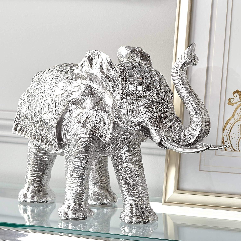 "Walking Elephant 12 3/4"" High Silver Statue - Studio 55D"