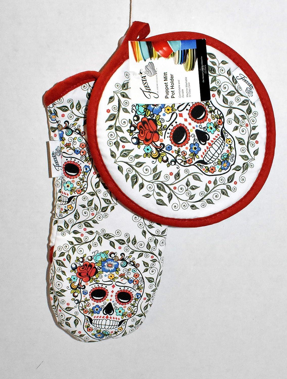 Gourmet Club New 2pc Colorful Sugar Skulls Oven Puppet Mitt & Pot Holder