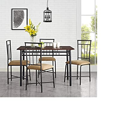 Amazoncom Mainstays 5 Piece Wood And Metal Dining Set Multiple