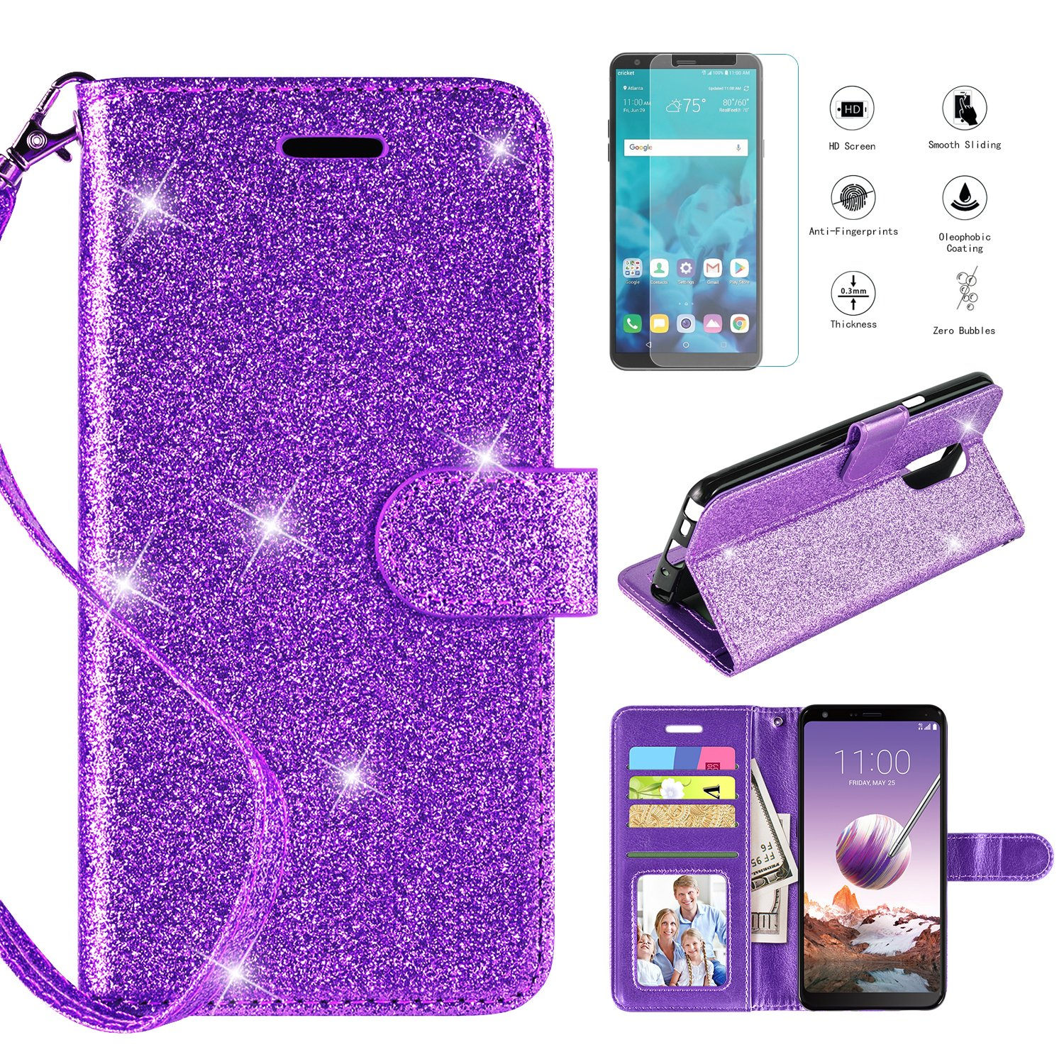 LG Stylo 4 Case 2018,LG Stylo 4 Phone Case Wallet Case w Screen Protector, Kickstand Card Slots Wrist Strap 2 in 1 Glitter Magnetic Flip PU Leather Wallet Cover Compatible LG Stylo 4 Plus,Purple