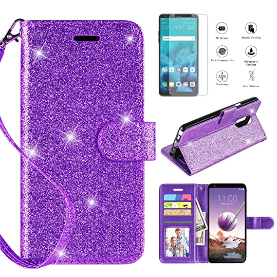 buy popular e9350 64c25 LG Stylo 4 Case 2018,LG Stylo 4 Phone Case Wallet Case w Screen Protector,  Kickstand Card Slots Wrist Strap 2 in 1 Glitter Magnetic Flip PU Leather ...
