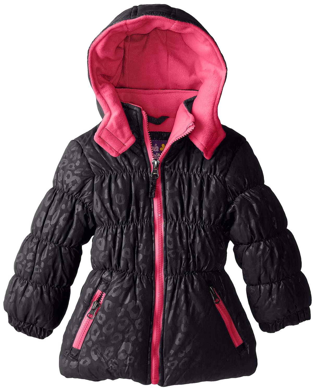 Pink Platinum Girls Tonal Leopard Printed Pop Zipper Puffer Black 4 Pink Platinum Girls 2-6x PP83400-BLK