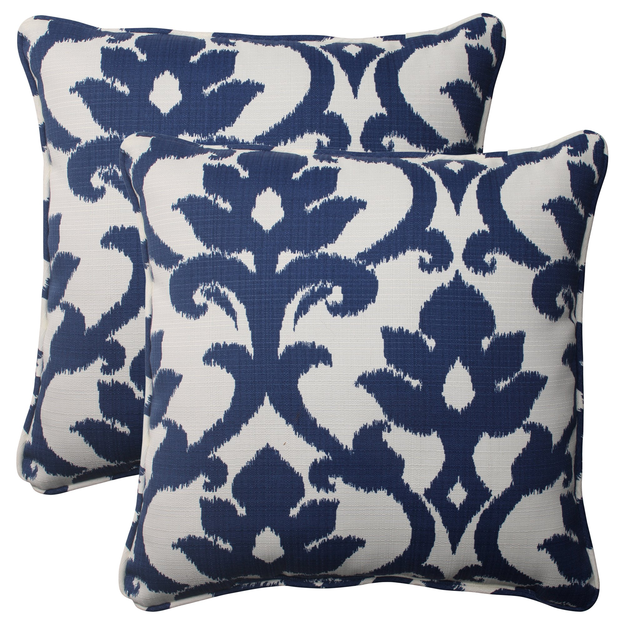 Pillow Perfect Outdoor Bosco Corded Throw Pillow, 18.5-Inch, Navy, Set of 2 by Pillow Perfect