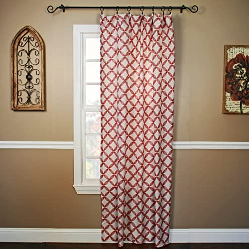 Lisbon Printed Semi-Sheer Panel 48Wx84L-Red