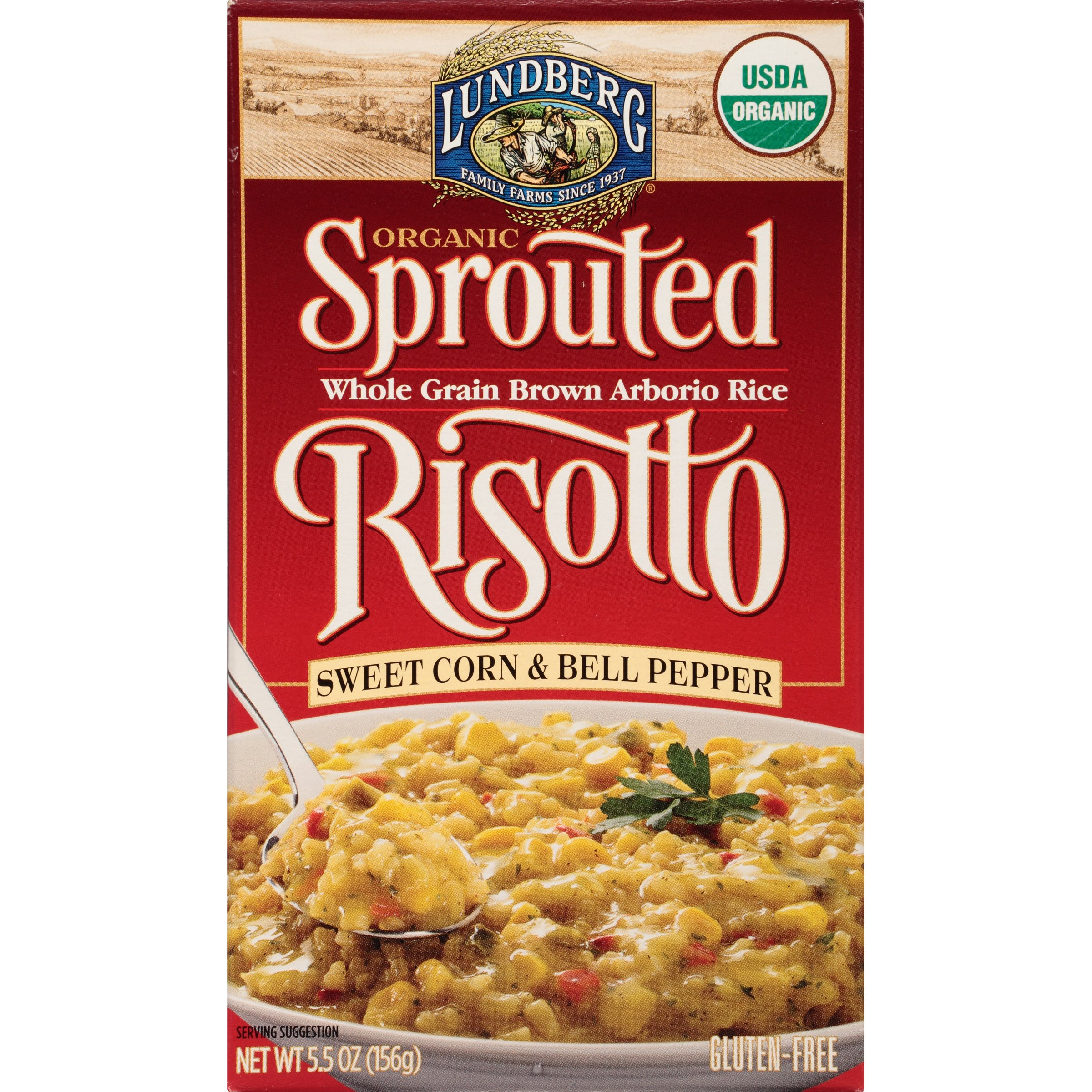 Lundberg Family Farms Organic Sprouted Risotto, Sweet Corn & Bell Peppers, 5.5 Ounce (Pack of 6)