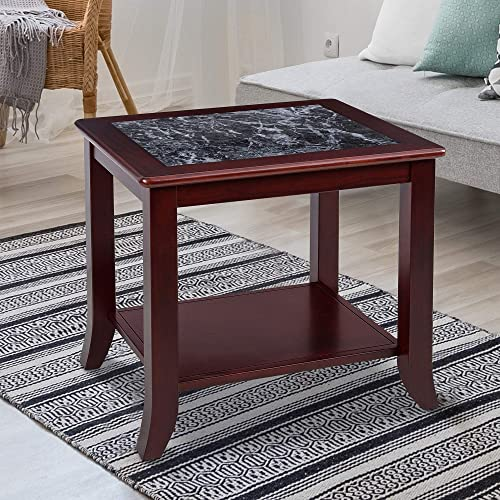PrimaSleep 22 H Natural Marble Top Solid Wood Base, Coffee Side End Sofa Table,Black Cherry Brown