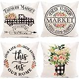 Hexagram Floral Farmhouse Pillow Covers 18x18 Set of 4, Buffalo Plaid Spring Pillow Covers,Farmhouse Truck with Flower Decora