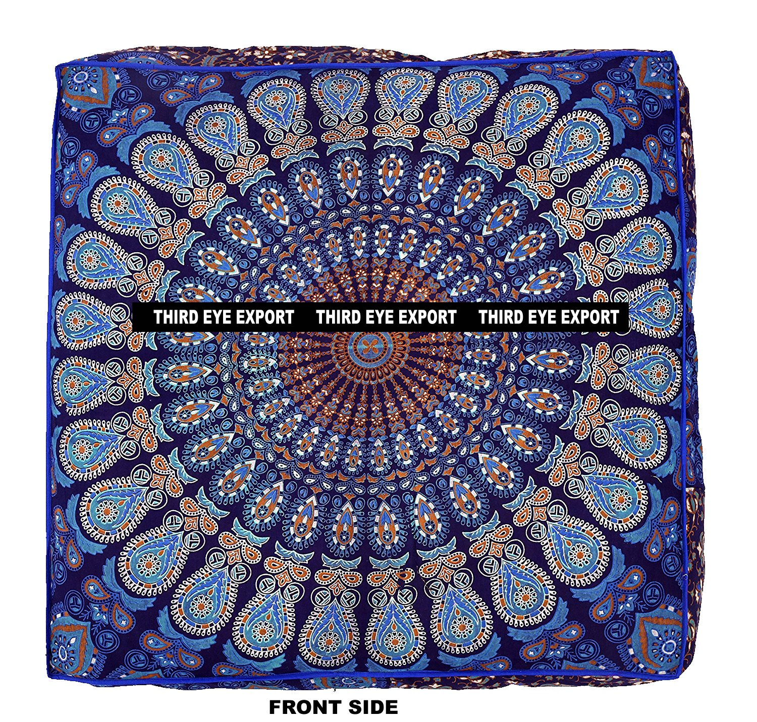 Third Eye Export Indian Mandala Floor Pillow Square Ottoman Pouf Daybed Oversized Cushion Cover Cotton Seating Ottoman Poufs Dog/Pets Bed (Blue Cover Only) DBC-2