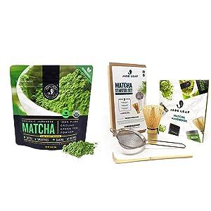 Jade Leaf Matcha + Tea Set Bundle - Organic Matcha Green Tea Powder Culinary Pouch (30g) and Traditional Matcha Starter Set