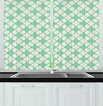 Mint Kitchen Curtains By Ambesonne, Victorian Style Old Fashioned Floral  Motifs Nature Theme Pattern Feminine