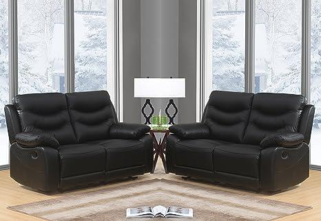 Divani In Pelle Reclinabili.Sc Furniture Ltd Nero Di Alta Qualita In Vera Pelle Manuale