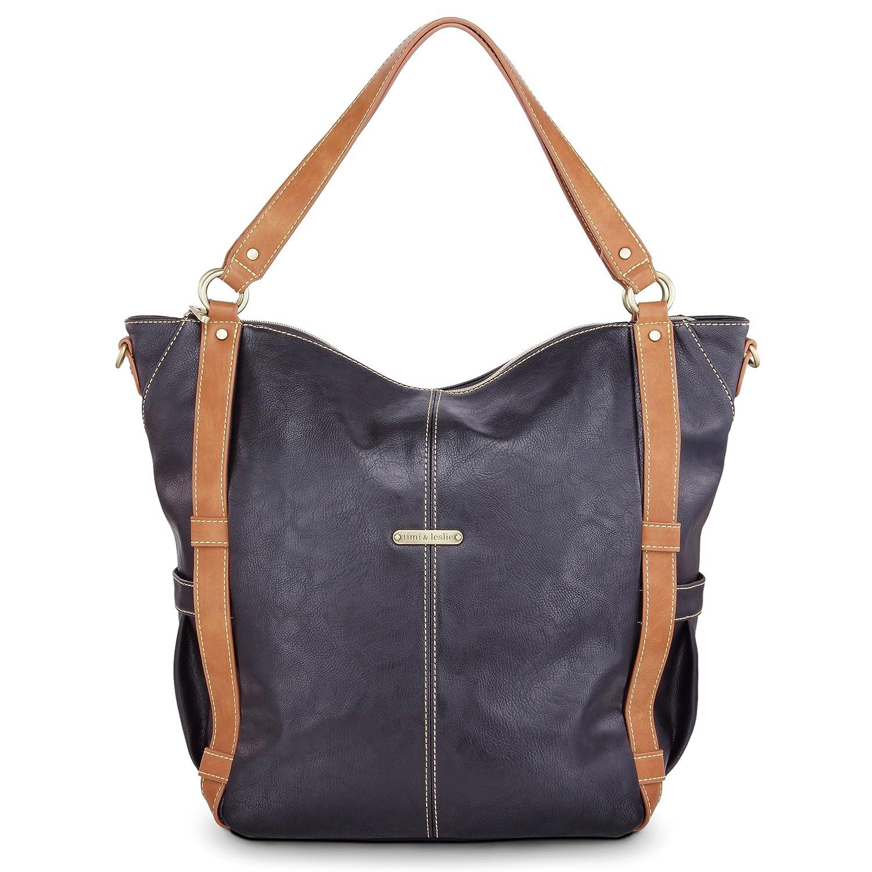 timi & leslie Marcelle 7-Piece Diaper Bag Set, Black/Saddle TL-234-01BK