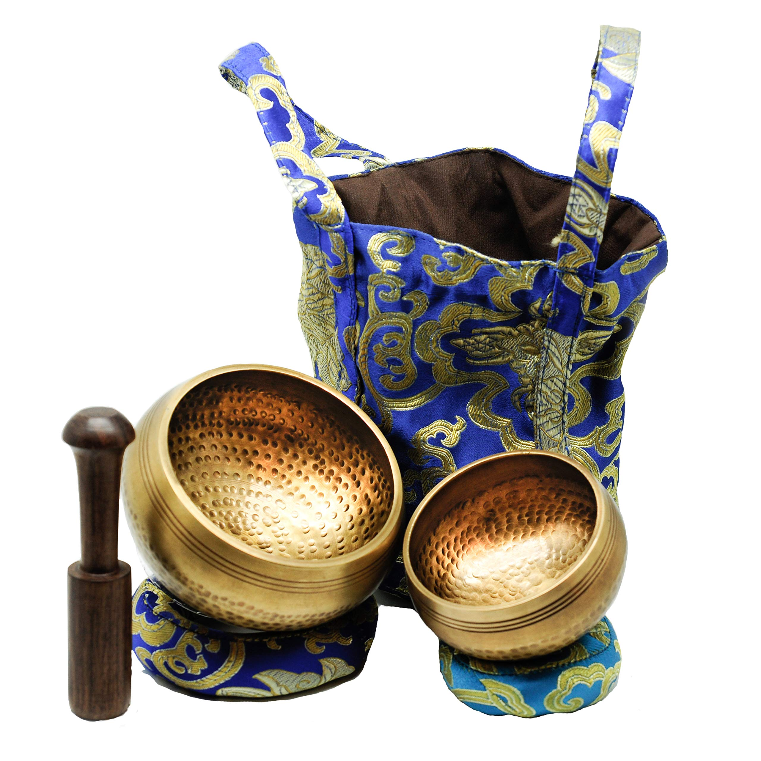 Tibetan Singing Bowls Set. 2 bowls: 4 inches & 3.15 inch, Mallet, Ring Cushions and Nepal Cloth Bag. Great for Meditation, Yoga, Relaxation, and Healing. Increase mindfulness. Deep Sound. by Cadushki