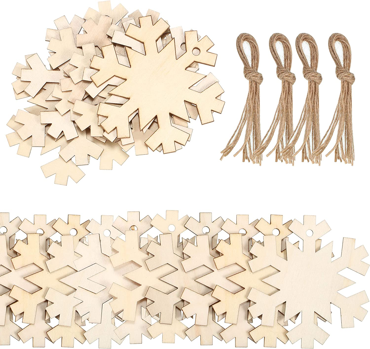 120 Pieces Unfinished Wooden Ornaments Christmas Wood Ornaments Hanging Embellishments Crafts for DIY Christmas Hanging Decoration (Snowflake Shape)